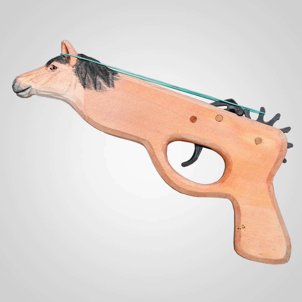 62669 - Wood Horse Rubber Band Gun, Plain
