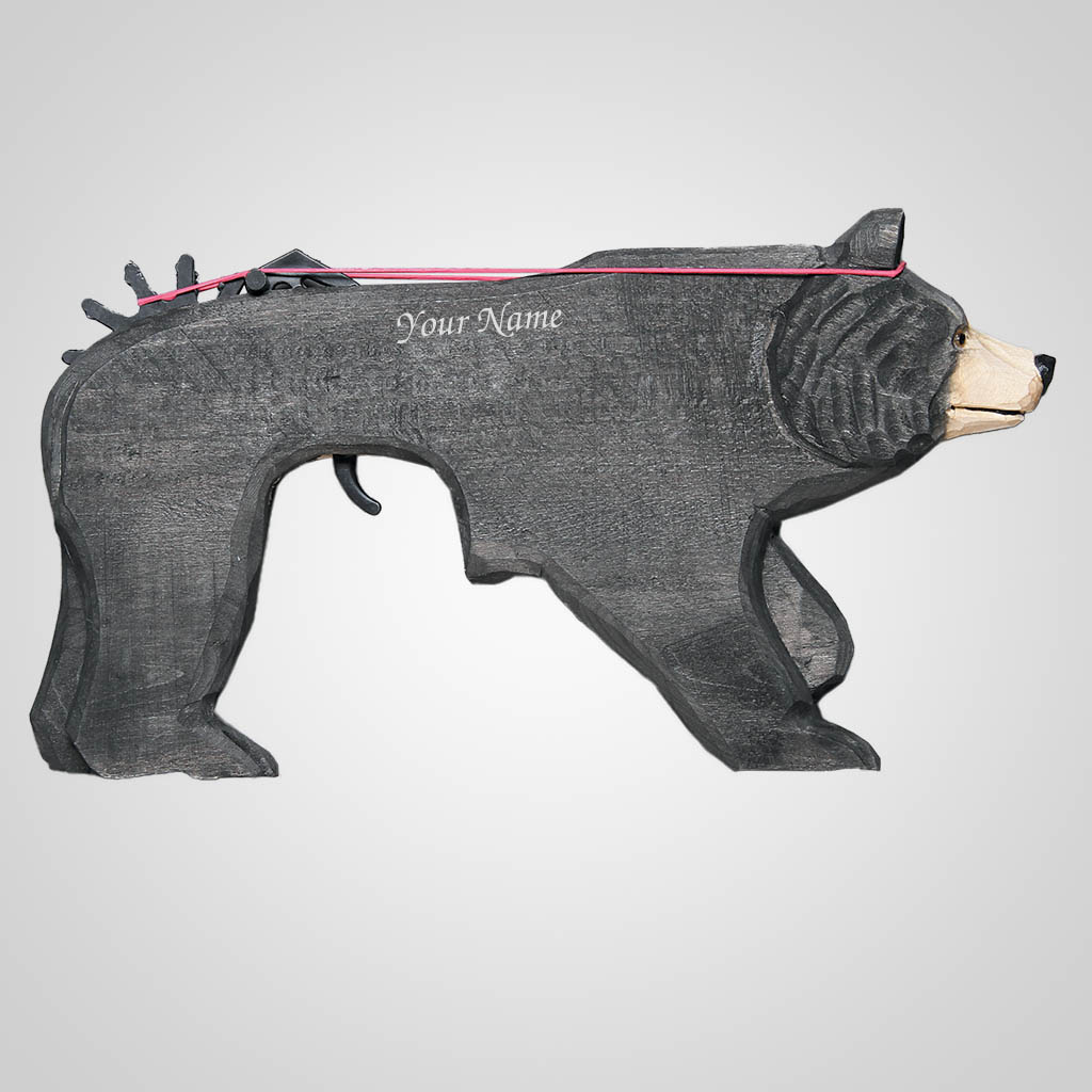 62671IM - Wood Walking Bear Rubber Band Gun, Name-Drop