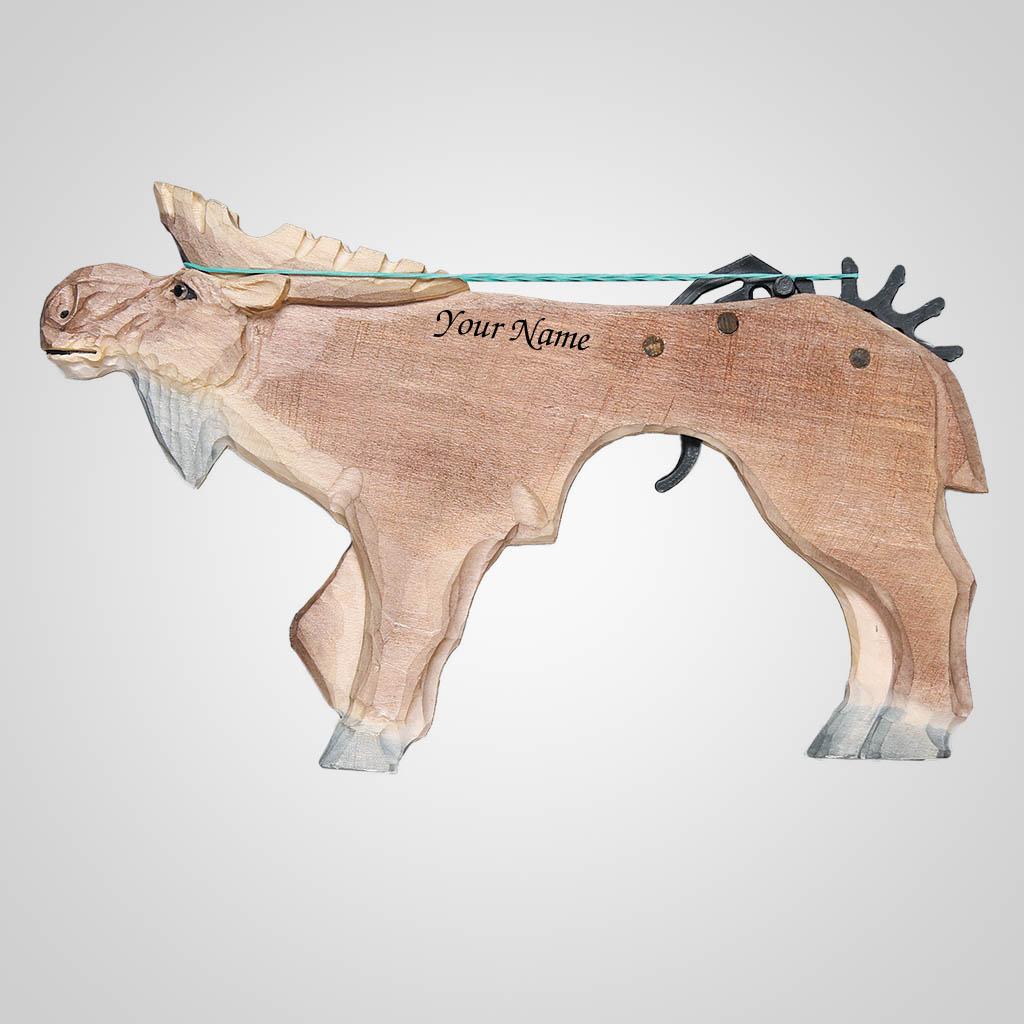 62672IM - Wood Moose Rubber Band Gun, Name-Drop