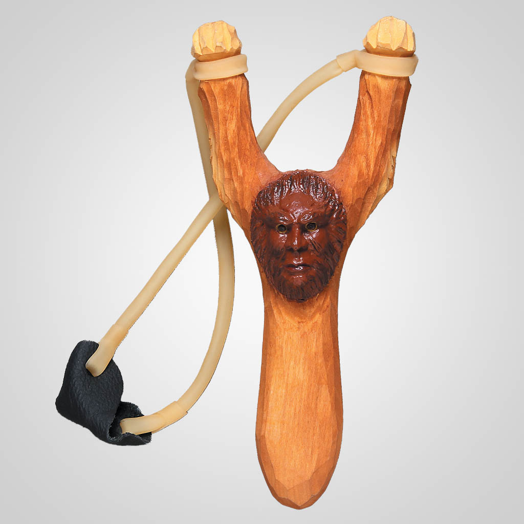 62707 - Carved Wood Bigfoot Slingshot, Plain