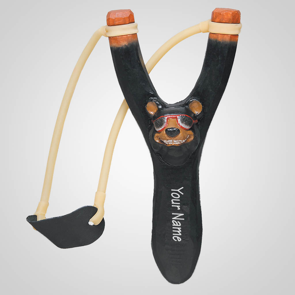 62710IM - Carved Wood Comic Bear Slingshot, Name-Drop