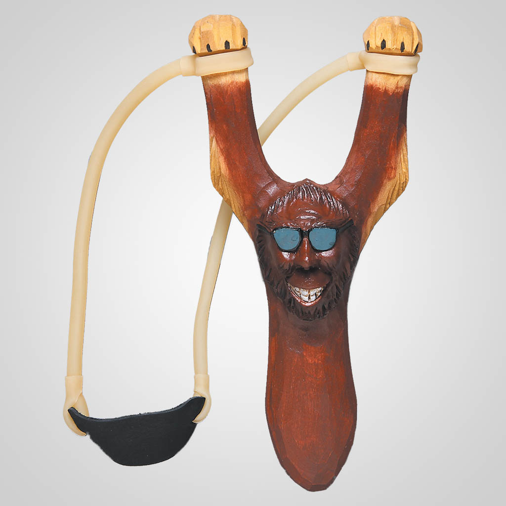 62714 - Carved Wood Comic Bigfoot Slingshot, Plain