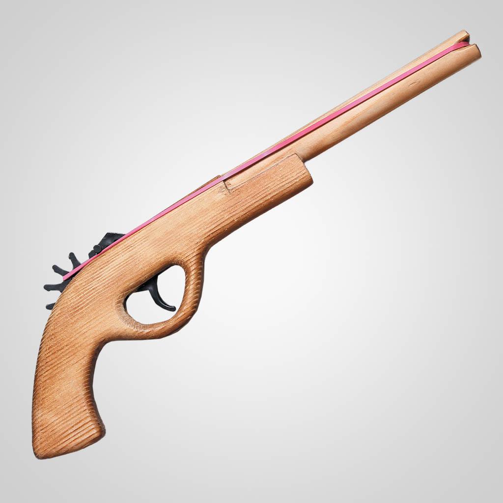 62718PL - Wood Rubber Band Pistol, Plain