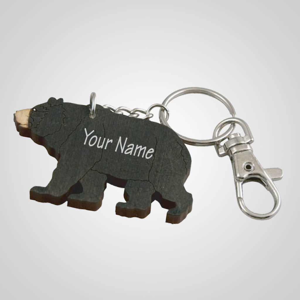 62797IM - Laser Cut Bear Keychain, Name-Drop