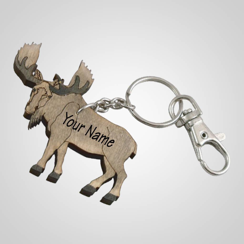 62800IM - Laser Cut Moose Keychain, Name-Drop