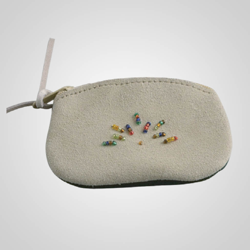 62813PL - Leather Zip Coin Purse With Beads, Plain
