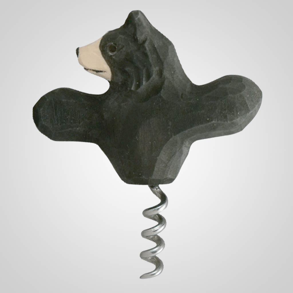 62829 - Carved Wood Bear Corkscrew