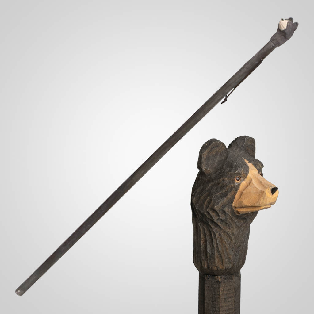 62835 - Carved Wood Bear Walking Stick