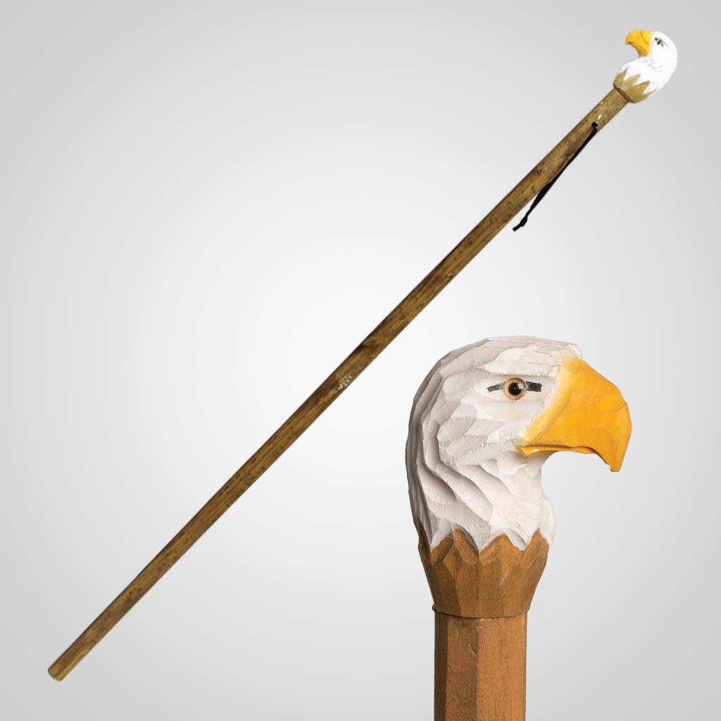 62836 - Carved Wood Eagle Walking Stick