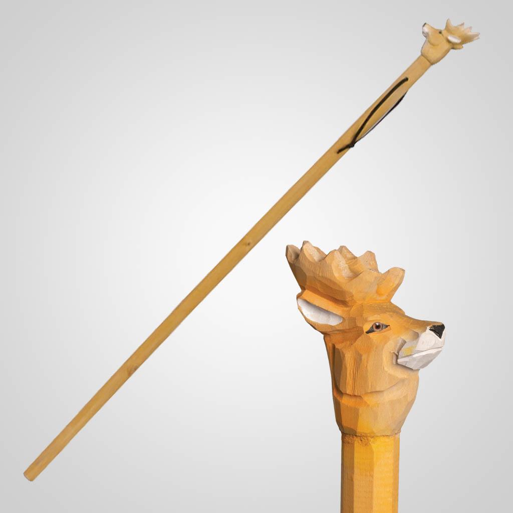 62837 - Carved Wood Deer Walking Stick