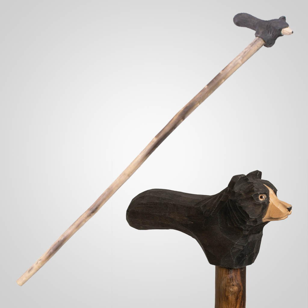 62839 - Carved Wood Bear Walking Cane