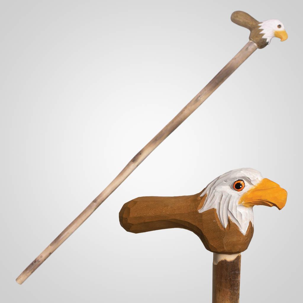 62840 - Carved Wood Eagle Walking Cane