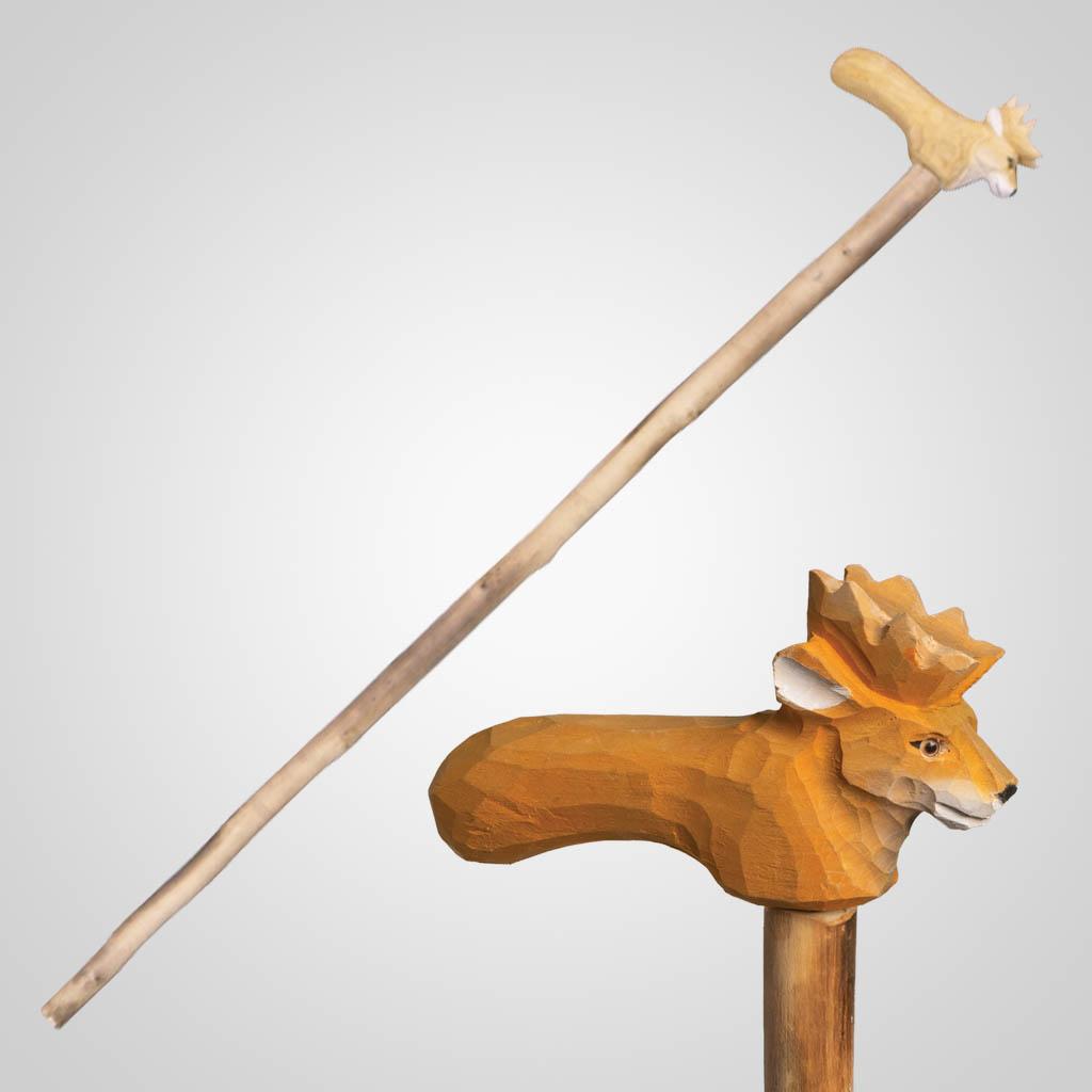 62841 - Carved Wood Deer Walking Cane