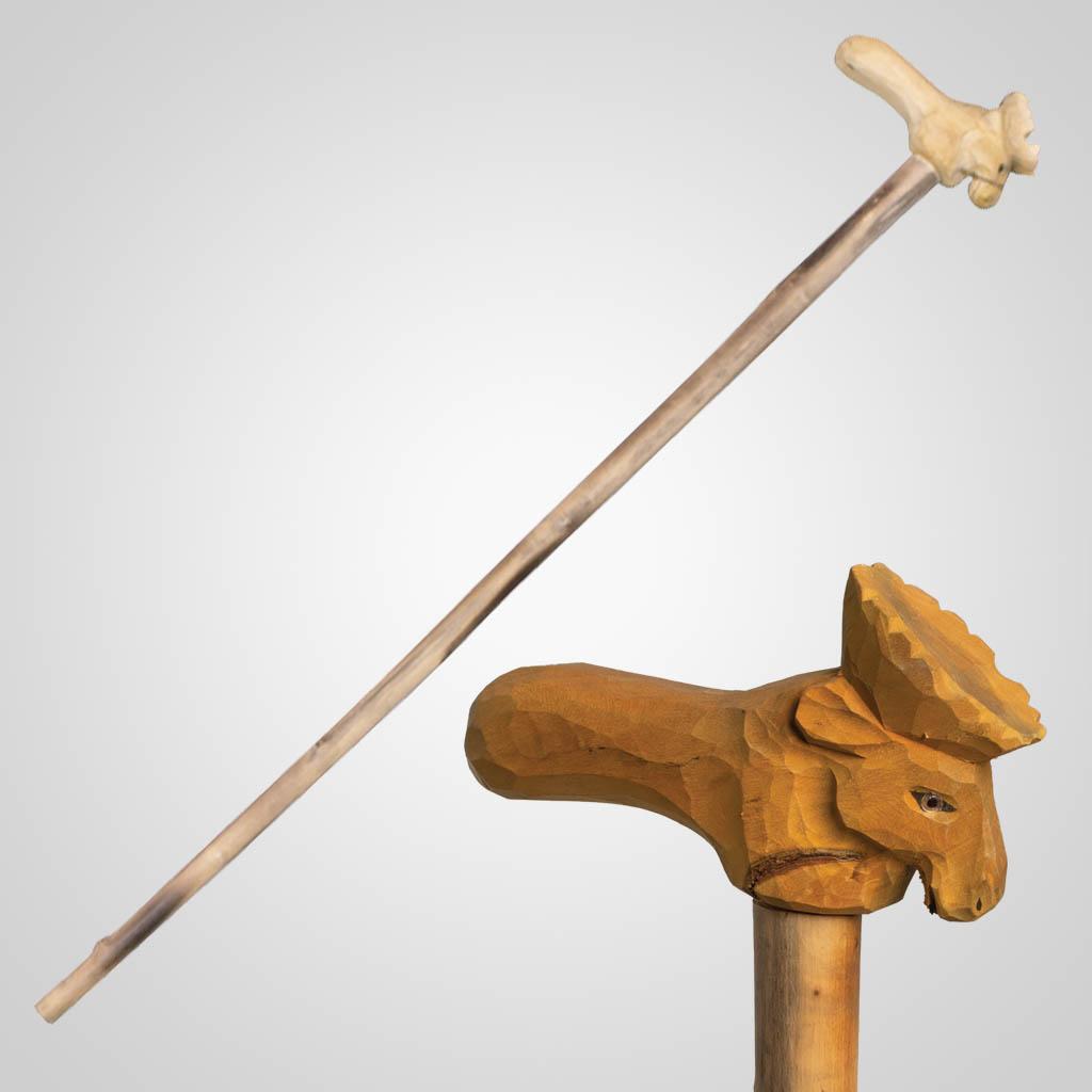 62842 - Carved Wood Moose Walking Cane