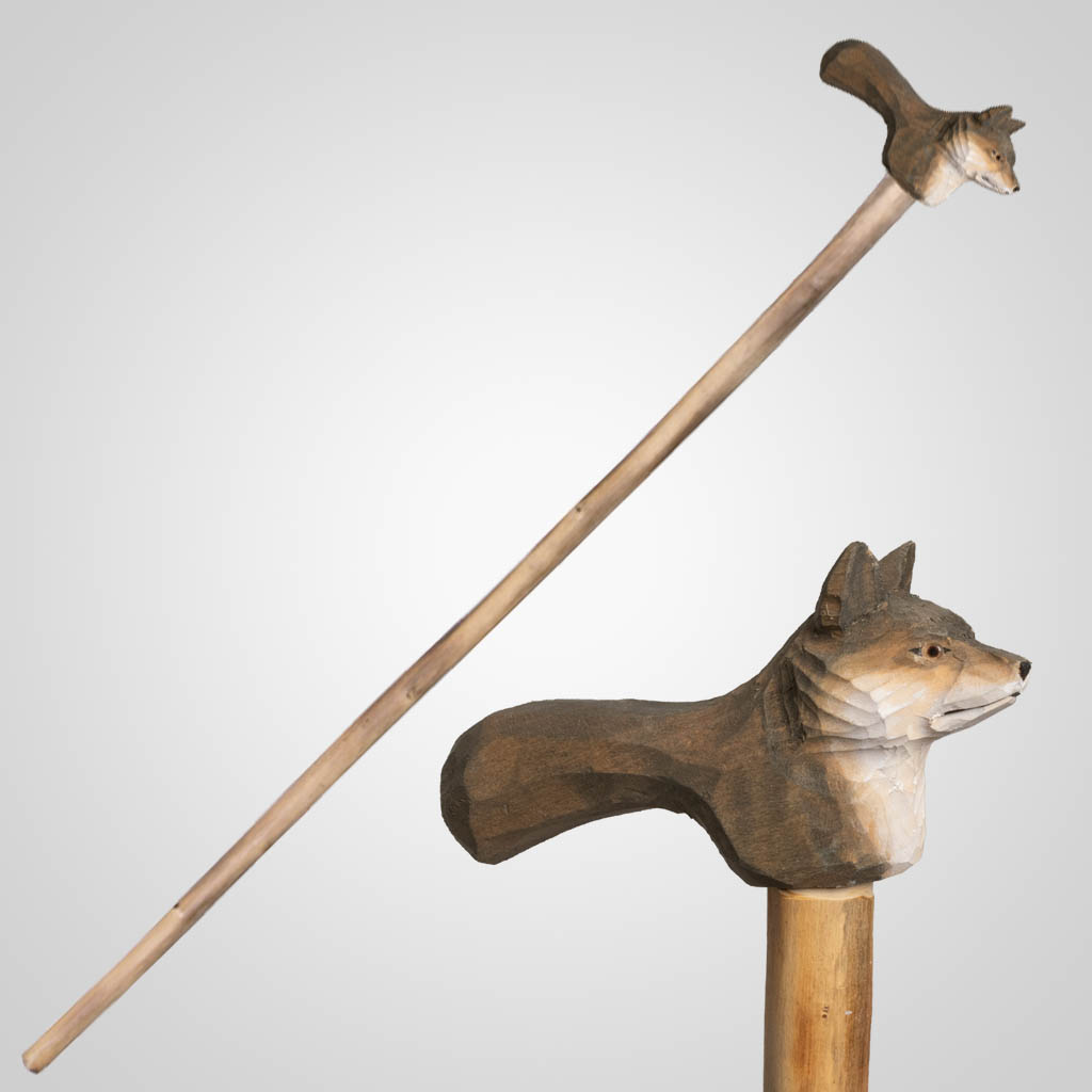 62844 - Carved Wood Wolf Walking Cane