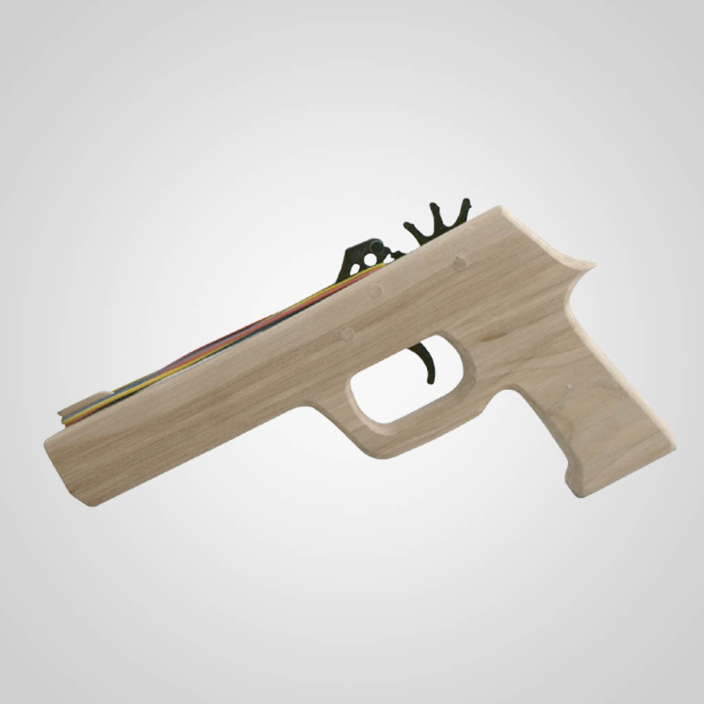 62847PL - Wood 38 Cal Rubber Band Gun, Plain