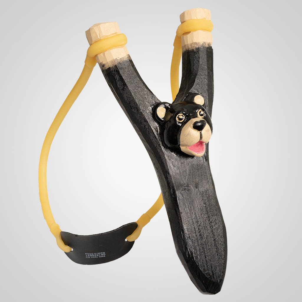 63032 - Carved Wood Cute Bear Slingshot, Plain