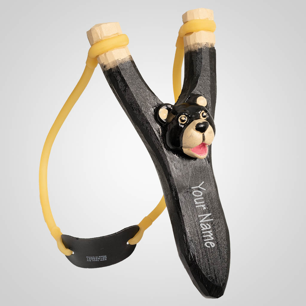 63032IM - Carved Wood Cute Bear Slingshot, Name-Drop