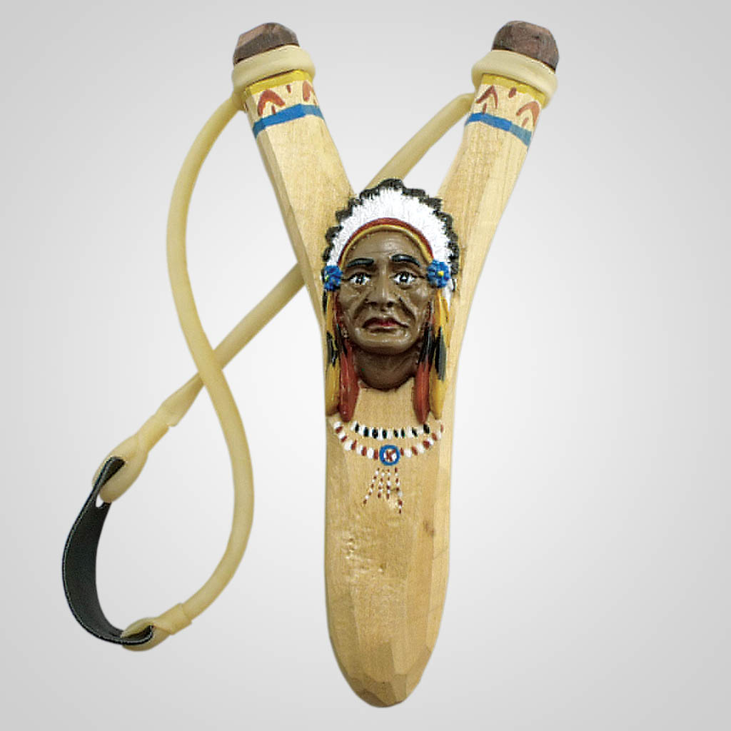 63046 - Carved Wood Indian Chief Slingshot