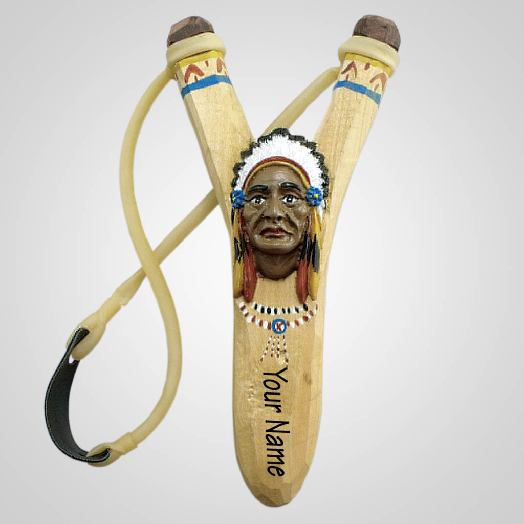 63046IM - Carved Wood Indian Chief Slingshot, Imprinted