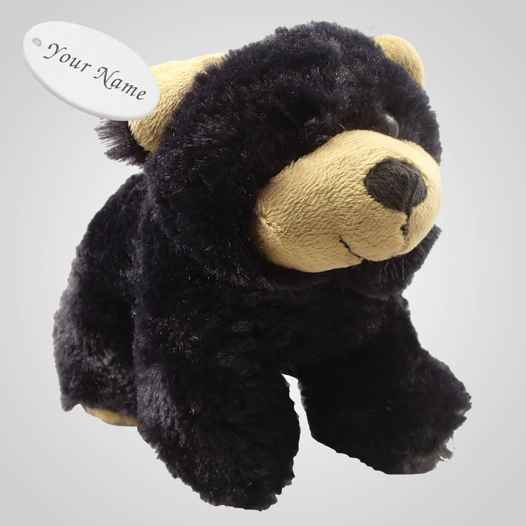 63051IM - Plush Black Bear Bean Bag with imprint tab