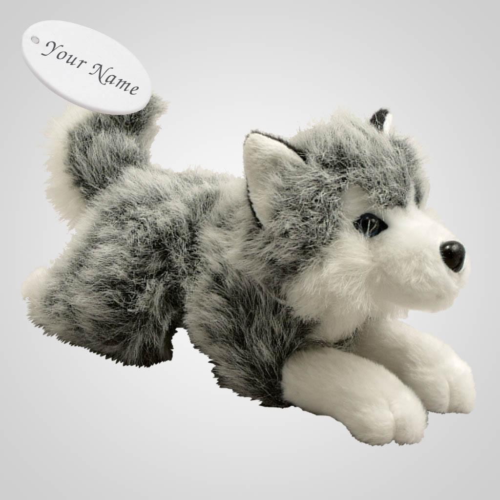 63068IM - Plush Husky Lying, Name-Drop