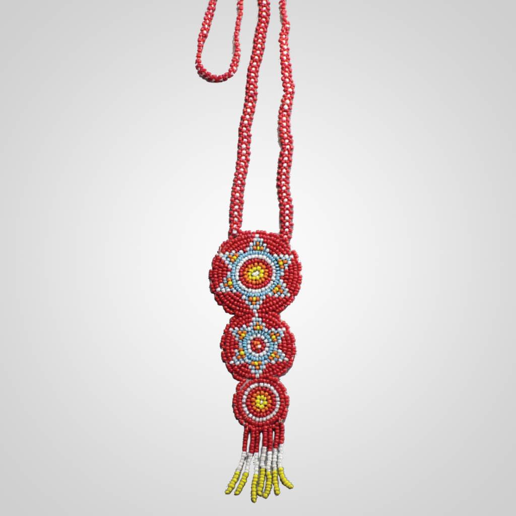 63077 - Hand Beaded Triple Rosette Necklace