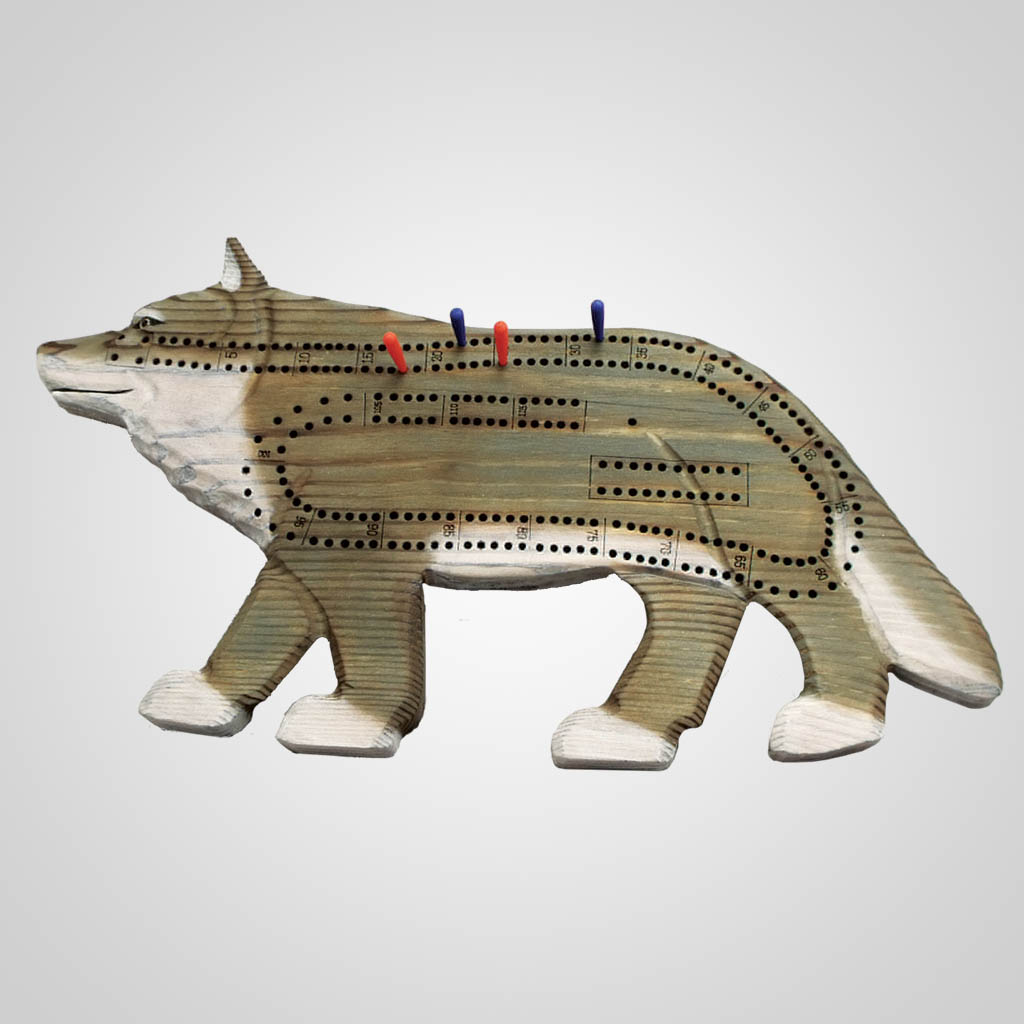 63093PP - Wolf Cribbage Board, 1 Color Print