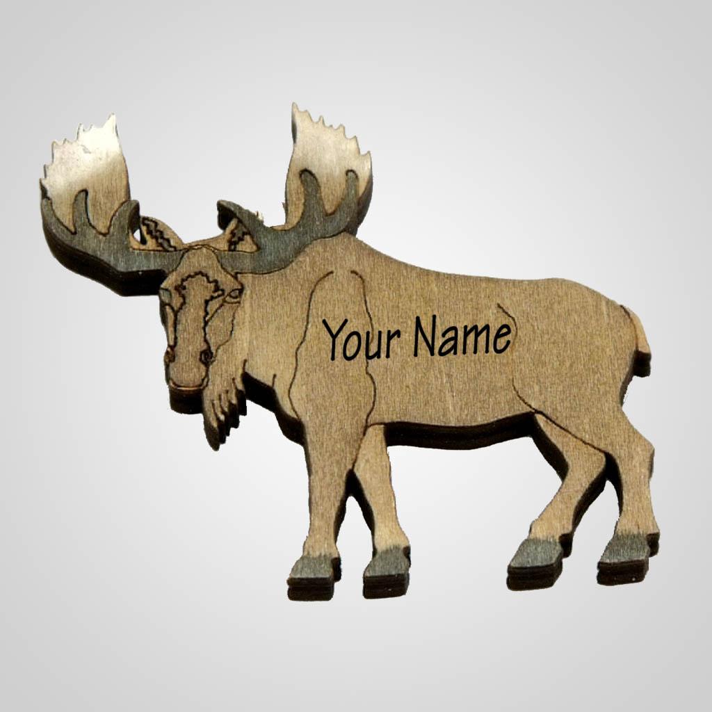 63096IM - Laser Cut Moose Magnet, Name-Drop