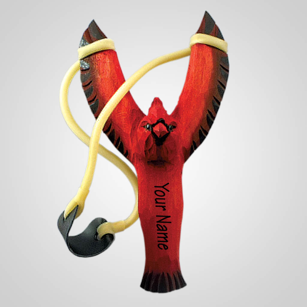 63106IM - Carved Wood Cardinal Slingshot, Name-Drop