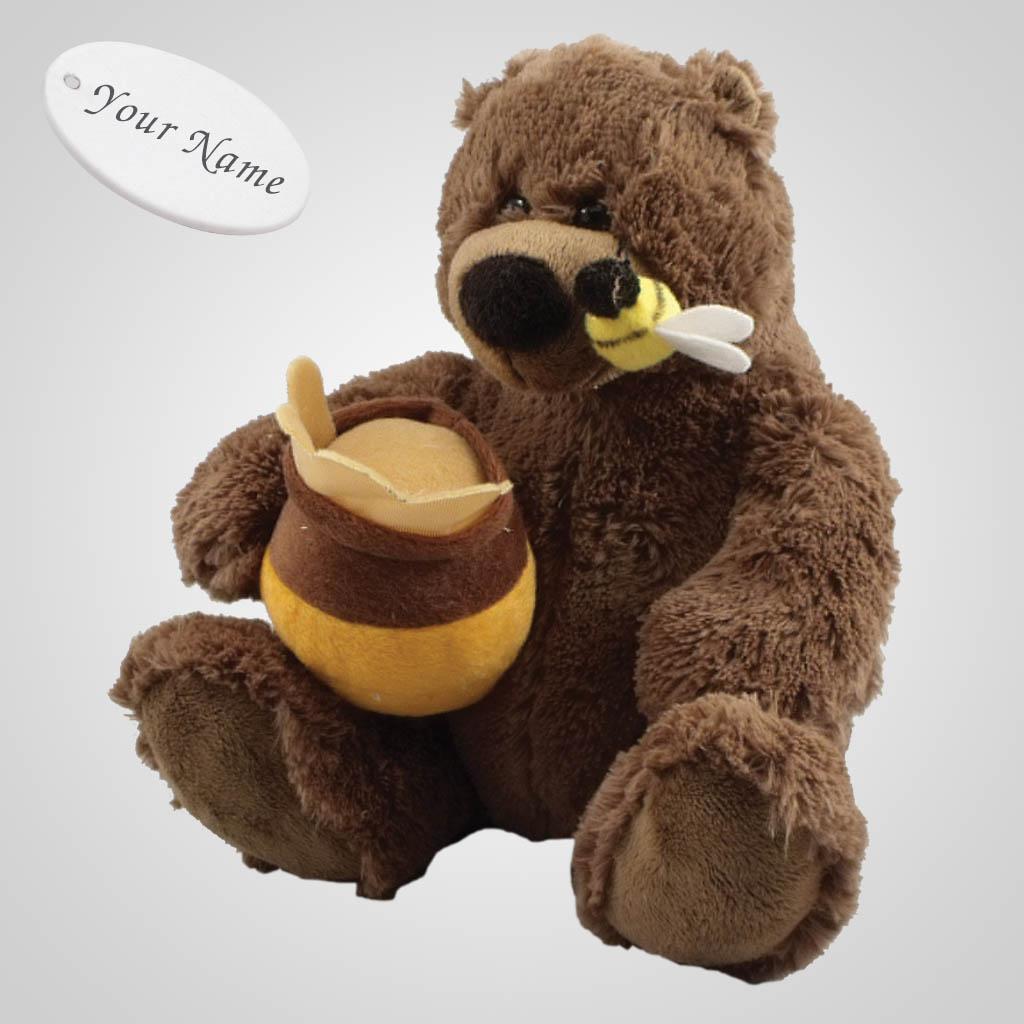 63188IM - Plush Brown Bear With Bee & Honey, Name-Drop