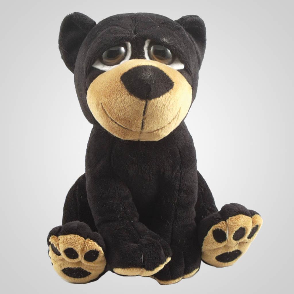 63189 - Big Eyed Plush Black Bear, Plain