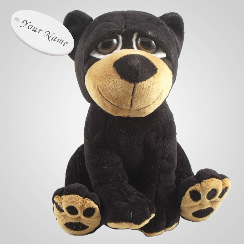63189IM - Big Eyed Plush Black Bear, Name-Drop