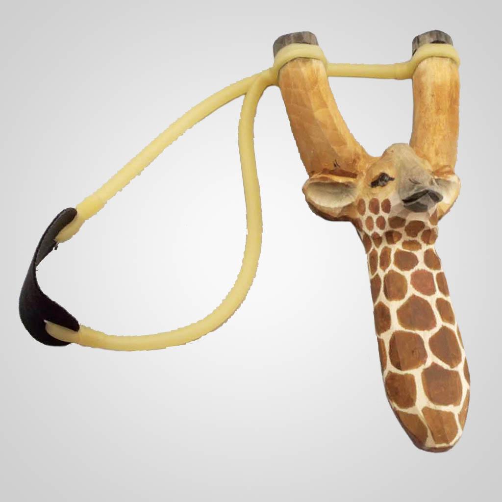 63193 - Carved Wood Giraffe Slingshot, Plain