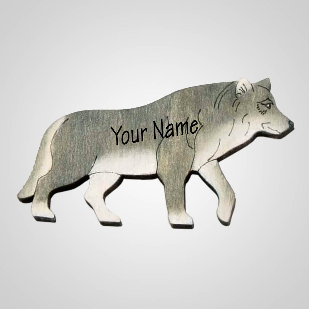 63201IM - Laser Cut Wolf Magnet, Name-Drop