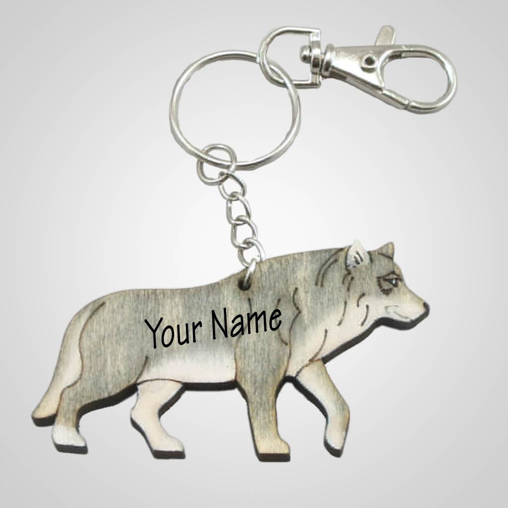 63202IM - Laser Cut Wolf Keychain, Name-Drop