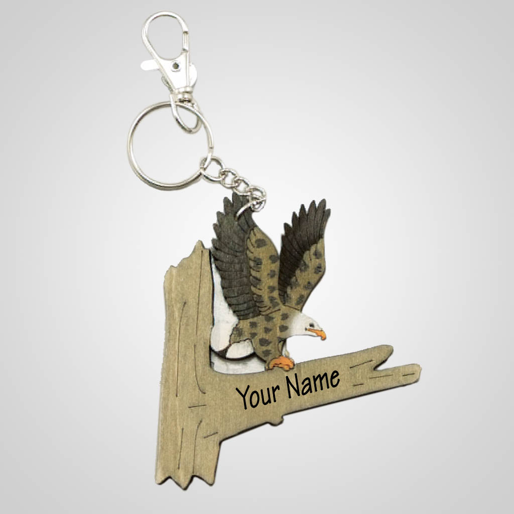 63203IM - Laser Cut Eagle Keychain, Name-Drop