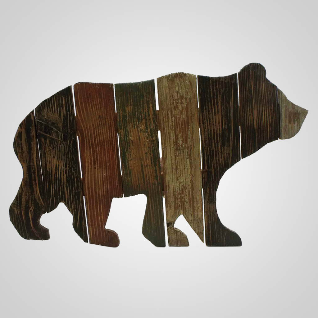 63213 - Bear Cutout Slats Wall Plaque