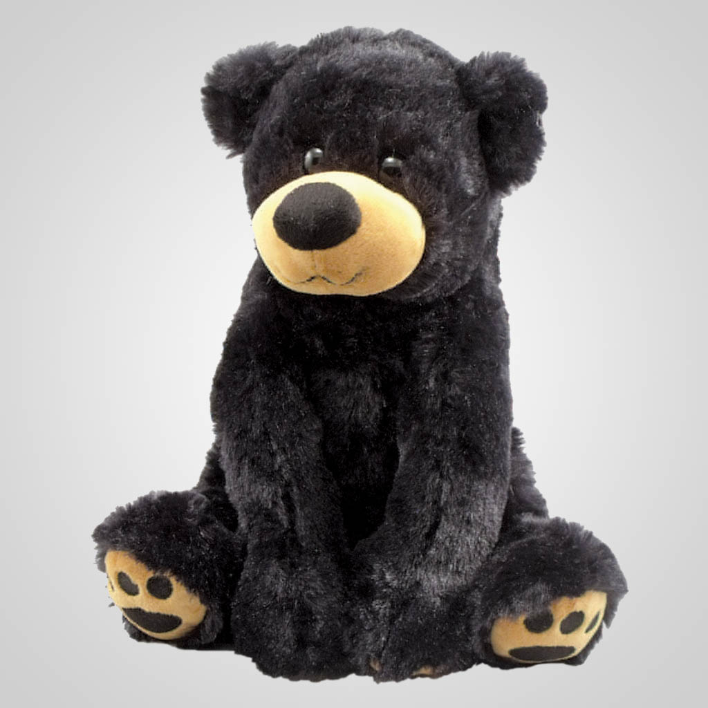 63222 - Plush Paw Prints Sitting Black Bear, Plain