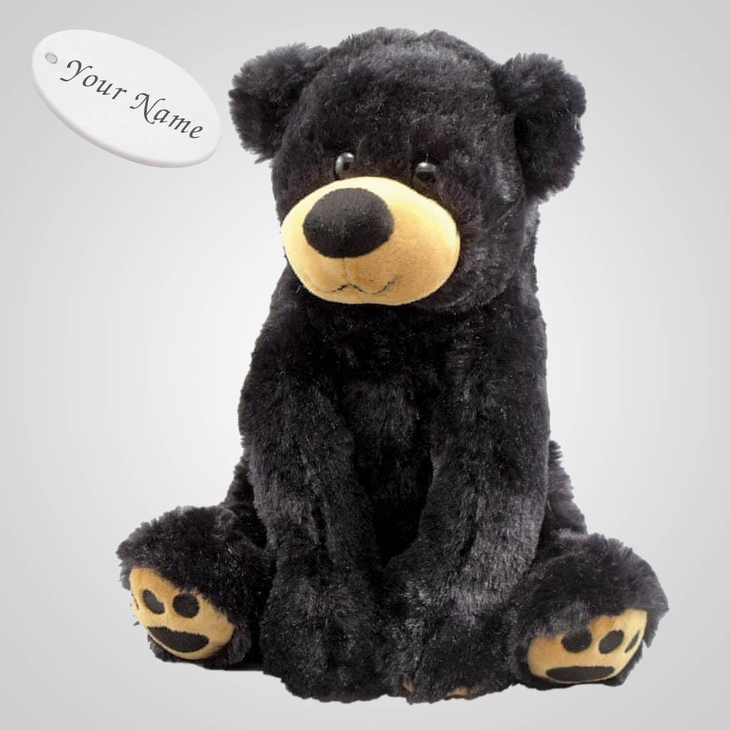 63222IM - Plush Paw Prints Sitting Black Bear, Name-Drop