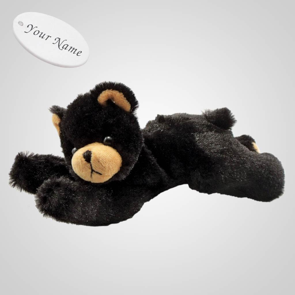 63228IM - Plush Lying Black Bear, Name-Drop