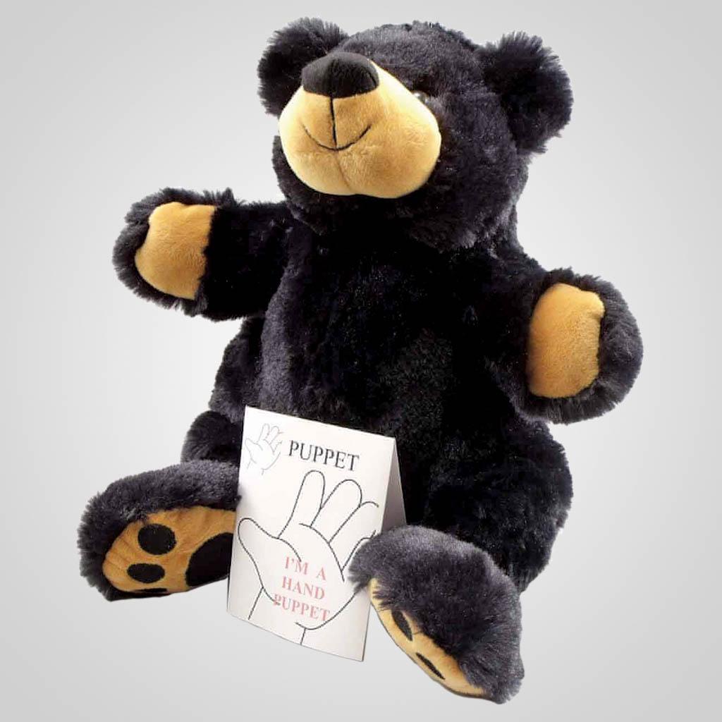 63229 - Plush Black Bear Hand Puppet, Plain