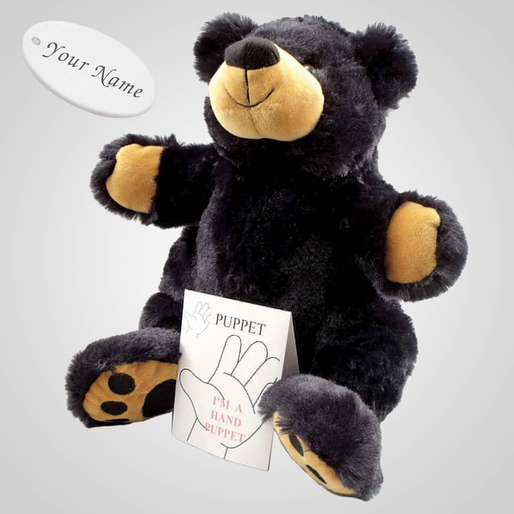 63229IM - Plush Black Bear Hand Puppet, Name-Drop