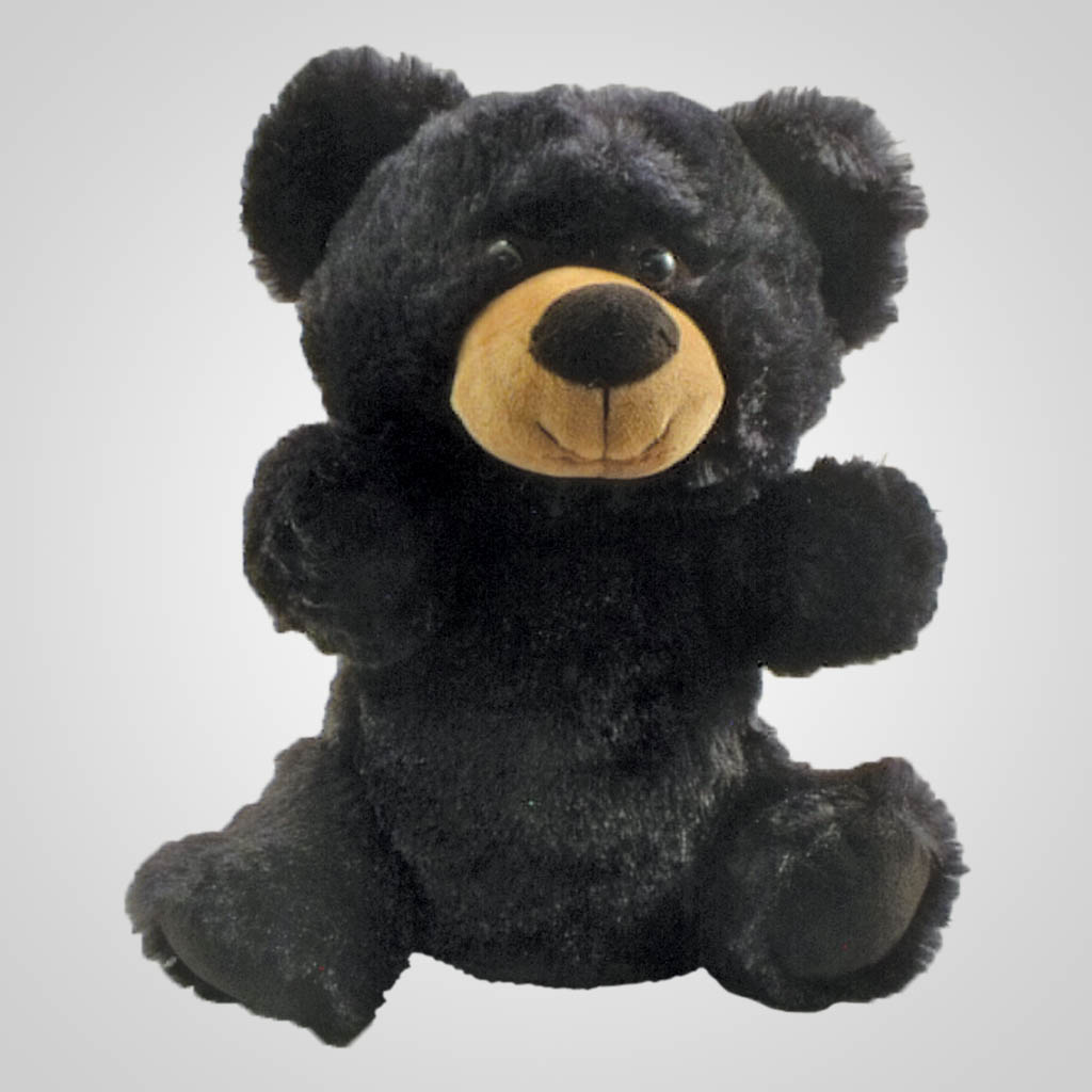 63259 - Black Bear Plush Hand Puppet, Plain
