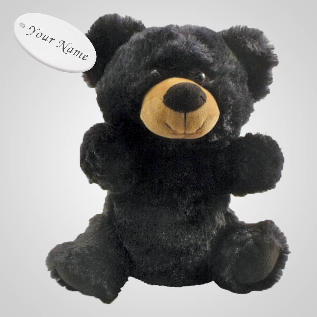 63259IM - Black Bear Plush Hand Puppet, Name-Drop