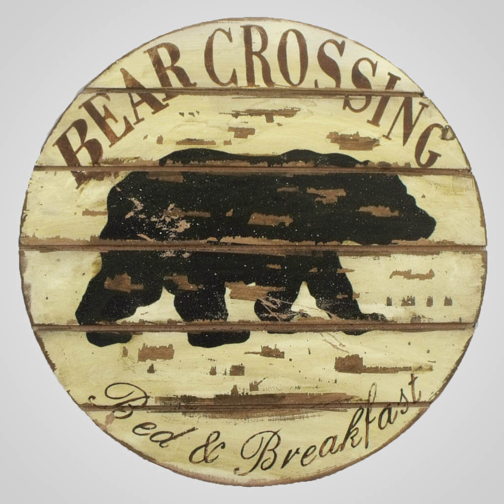 63265 - Bear Crossing Round Wall Plaque