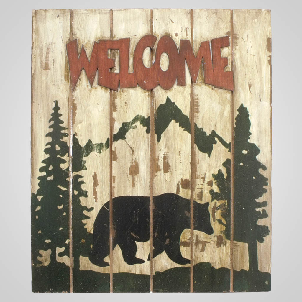 63266 - Bear Welcome Wall Plaque