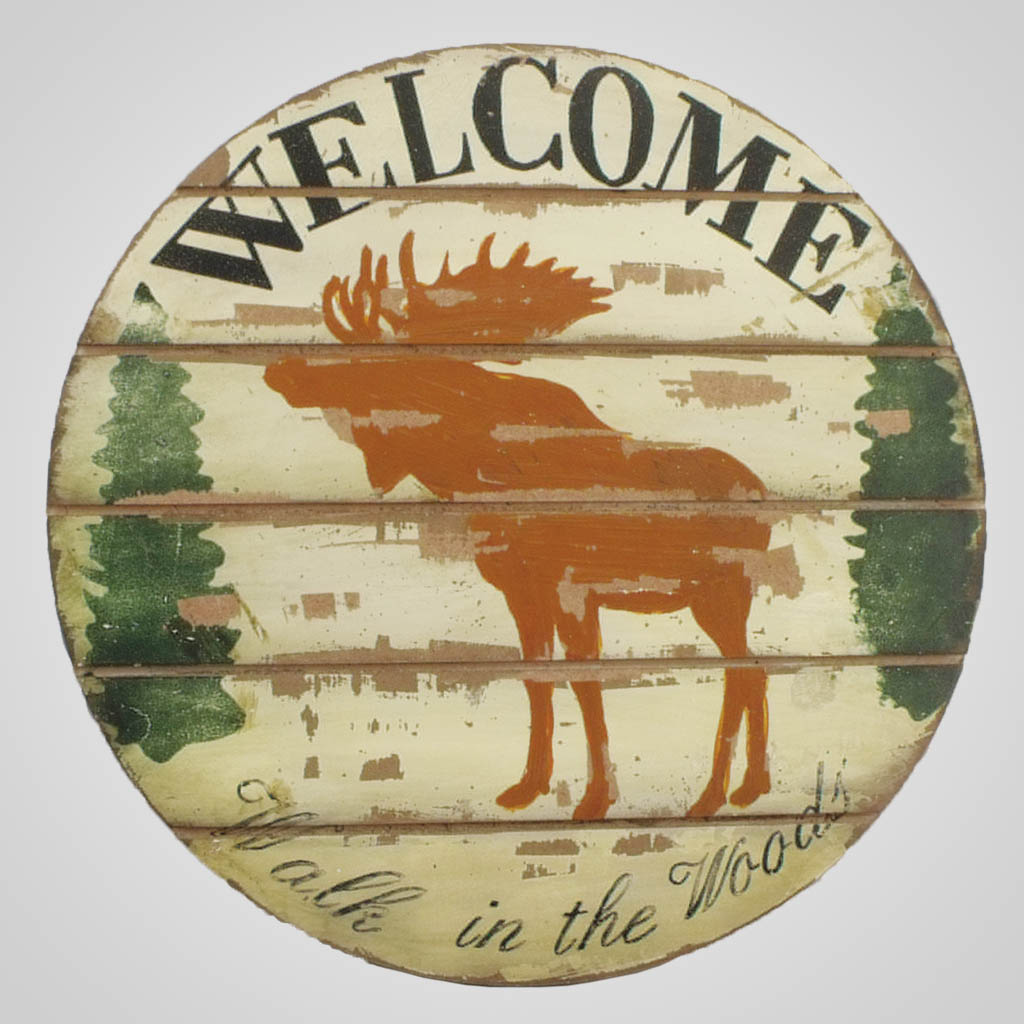 63267 - Moose Welcome Round Wall Plaque