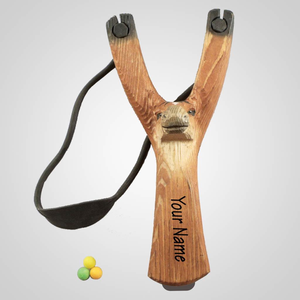 63270IM - Carved Wood Horse Slingshot w/ Ammo, Imprinted