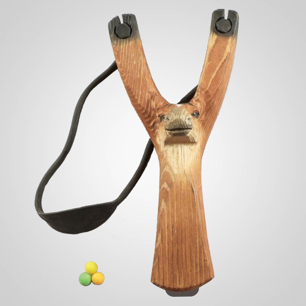 63270PL - Carved Wood Horse Slingshot w/ Ammo
